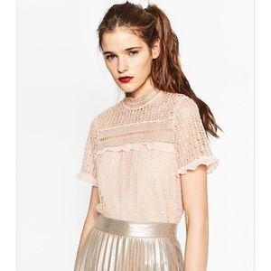 Zara guipure lace ruffle crop top blouse blush
